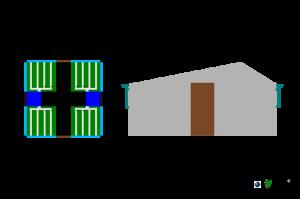 Vista frontal y Aerea con Logotipo